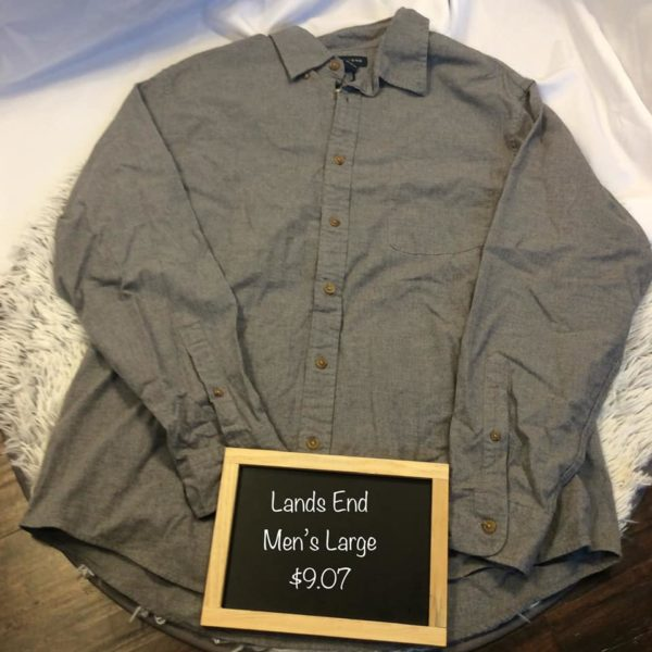 Lands End Grey Dress Shirt Mens Large